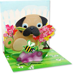Pug Bouquet Pop-Up Card
