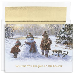 Building a Snowman Holiday Card