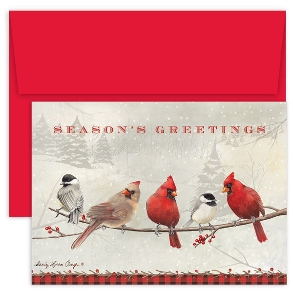 Cardinals & Chickadees - Season's Greetings Card