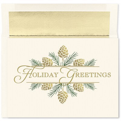 Golden Pinecones - Holiday Card