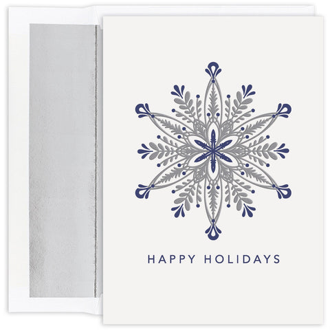 Ornate Silver Snowflake - Holiday Card
