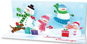 Snowman Family Holiday Pop-Up Panoramic Card