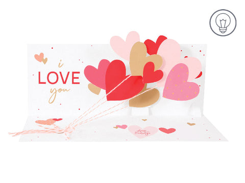 Light Up LED Pop-Up Card - Love Balloons