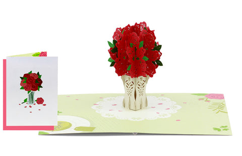 Bouquet of Red Roses Pop-Up Card