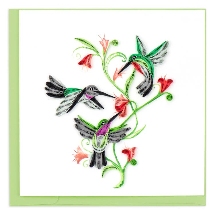 Hummingbirds Trio Quilling Card