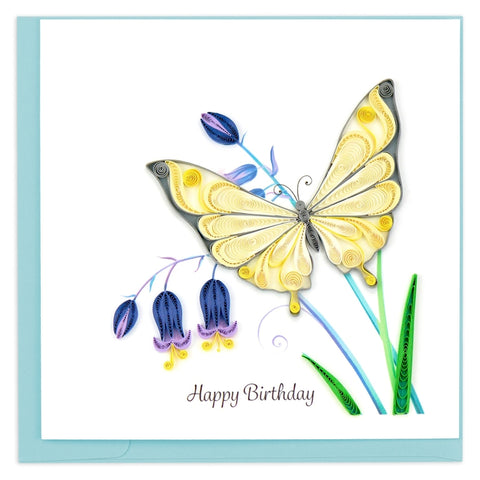 Birthday Butterfly & Bluebells Quilling Card