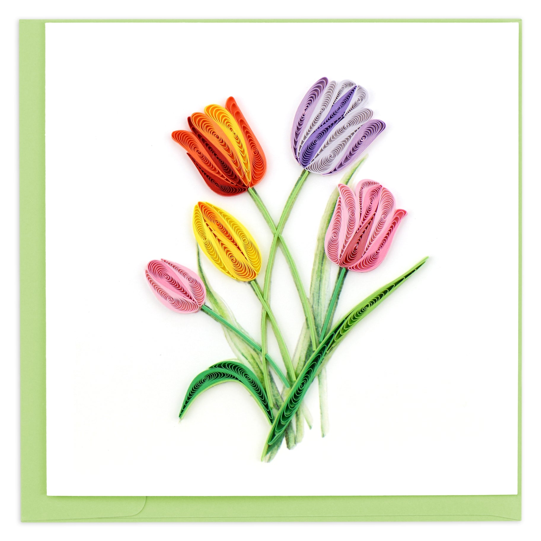 Colorful Tulips Quilling Card