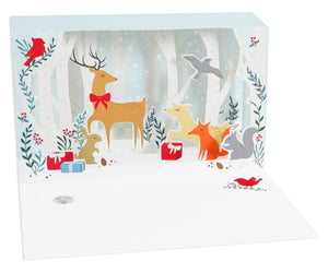 LED Illuminated Shadowbox Card - Silent Night Deer