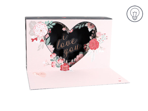 LED Illuminated Shadowbox Card - Floral Heart