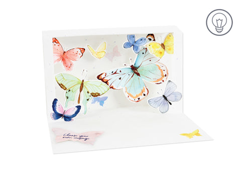 LED Illuminated Shadowbox Card - Golden Butterflies