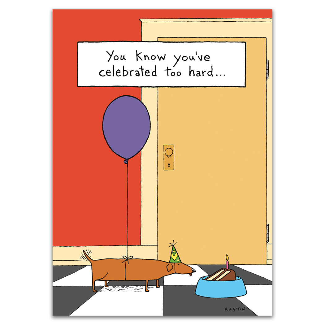 Dog with Balloon Humor Birthday Card