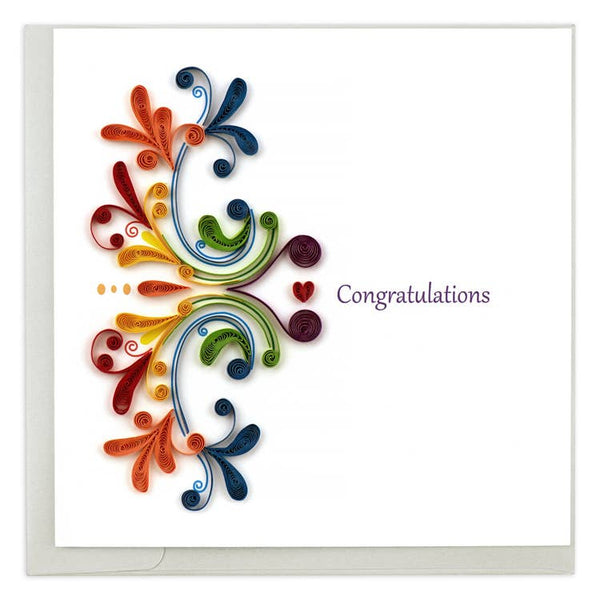 Rainbow Swirl Congratulations Quilling Card