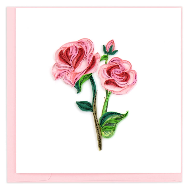 Long Stem Pink Roses Quilling Card