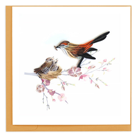 Mother Bird Feeding Babies Quilling Card