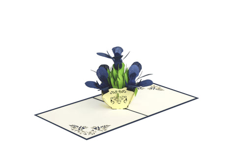Blue Iris Bouquet Pop-Up Card