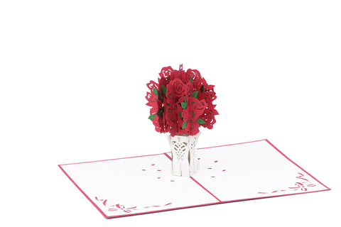 Red Bouquet of Roses Pop-Up Card