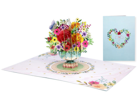 Vintage Floral Vase Pop-Up Card