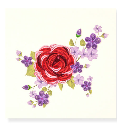 Rose and Flowers Quilled Card