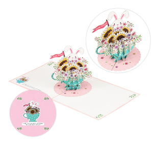 Bunny in Flower Cup Birthday Pop-Up Card