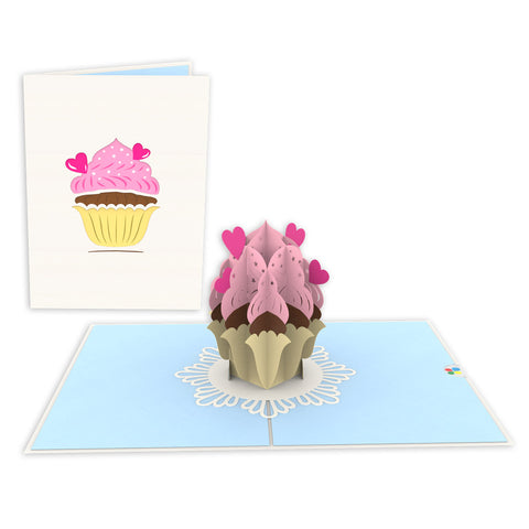 Hearts Cupcake Pop-Up Card