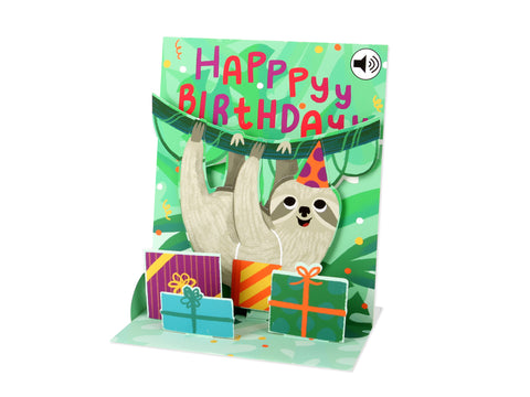 Musical Pop-Up Card - Sloth Happy Birthday
