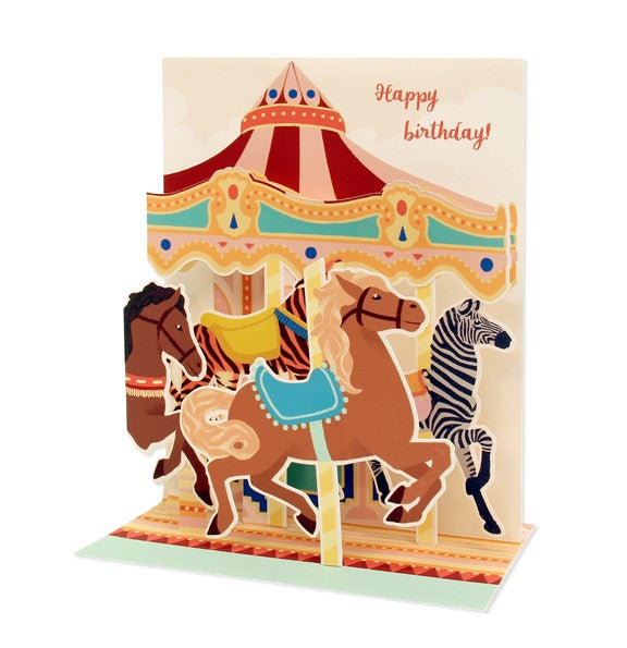Musical Pop-Up Card - Happy Birthday Carousel