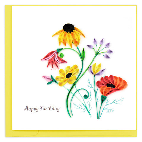 Wildflower Birthday Blooms Quilling Card