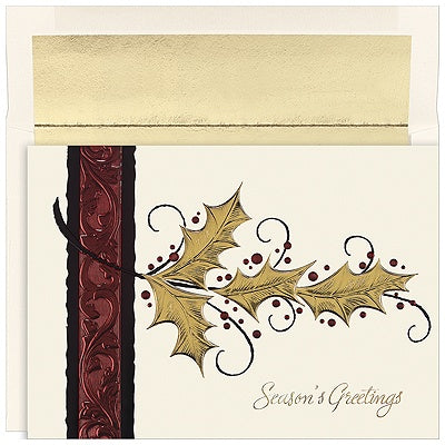 Gold Holly Season's Greetings Card