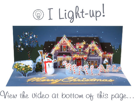 Light Up LED Pop-Up Card - Christmas Decorated House
