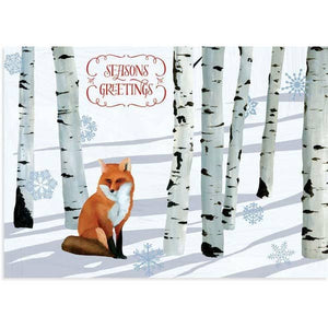Winter Fox Seasons Greetings Card