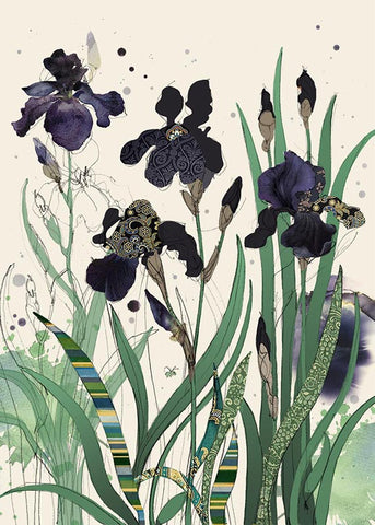 Black Irises Note Card