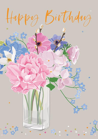 Flower Vase Happy Birthday Card