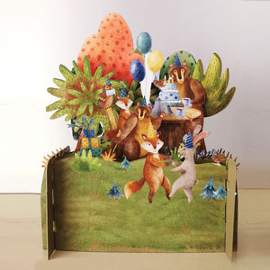 3D Animal Party Birthday Pop-Up Card
