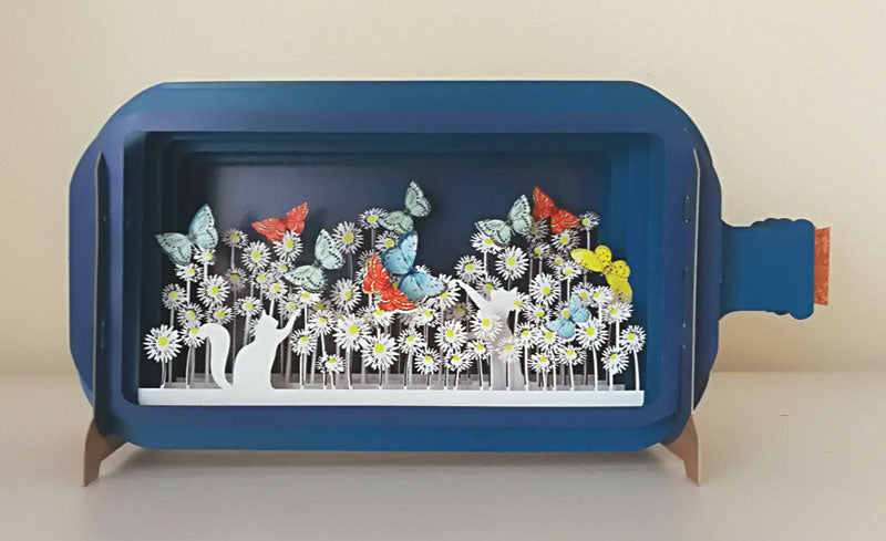 Message in a Bottle - Cats, Butterflies and Flowers Pop-Up Card