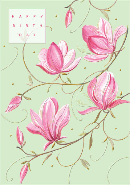 Pink Flowers Happy Birthday Card