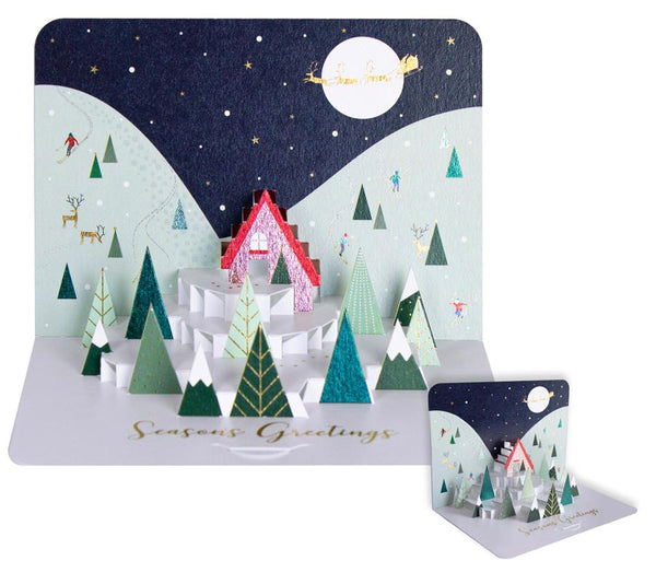 Season's Greetings Snowy Night Pop-Up Card
