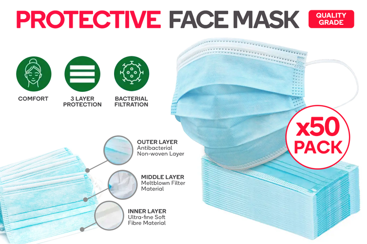 3Ply Protective Mask Box of 50