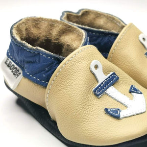 MB Apparels LLC 0-6 Months / BeigeAnchor Baby Shoes - Anchor, Sailboat, Airplane, Helicopter