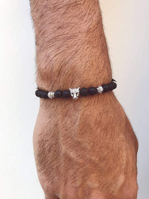 MB Apparels LLC 17 Centimeters Tiger Black Beaded Bracelet for Men