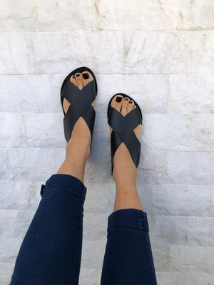 MB Apparels LLC 35 EU - 5 US EU women's / Black Black Sandal - Made from 100% Genuine Leather.