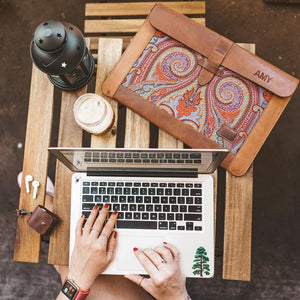 MB Apparels LLC Brown / Customization 1 Leather Sleeve Bag for MacBook Pro and Air