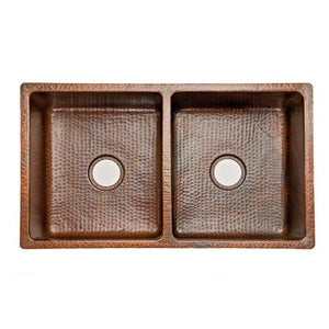 Premier Copper Products 33″ Hammered Copper Double Basin Kitchen Sink - K50DB33199