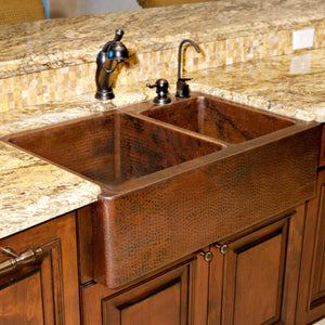 Premier Copper Products 33″ Hammered Copper Apron Front Double Basin Kitchen Sink - KA60DB33229