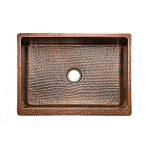 Premier Copper Products 30″ Hammered Copper Apron Front Single Basin Kitchen Sink - KASDB30229