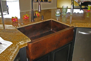 "Premier Copper Products 33"" Hammered Copper Apron Front Single Basin Kitchen Sink - KASDB33229"