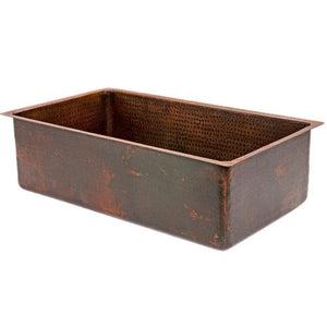 Premier Copper Products 30 in. Hammered Copper Single Basin Kitchen Sink - KSDB30199