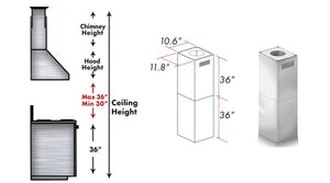 Accessories - ZLINE 2 Piece Chimney Extension For 12FT Ceilings - (2PCEXT-KN4)