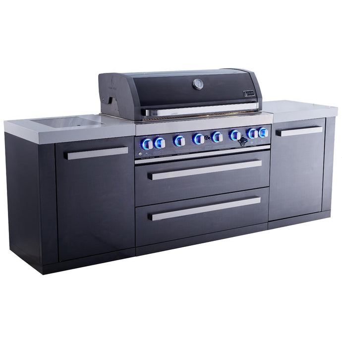 Mont Alpi 805 Deluxe Black Stainless Propane/Gas Island Grill - MAi805-BSS - Bison Kitchens