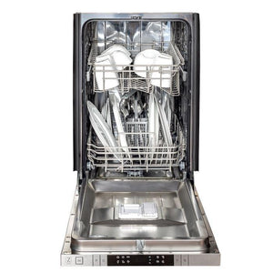 ZLINE 18 in. Top Control Dishwasher Snow Finished Stainless Steel With Stainless Tub & Modern Style Handle - (DW-SS-18) - Bison Kitchens