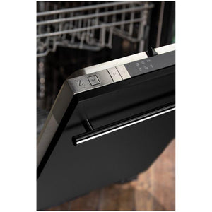 ZLINE 18 in. Top Control Dishwasher In Black Matte With Stainless Steel Tub And Modern Style Handle (DW-BLM-H-18) - Bison Kitchens